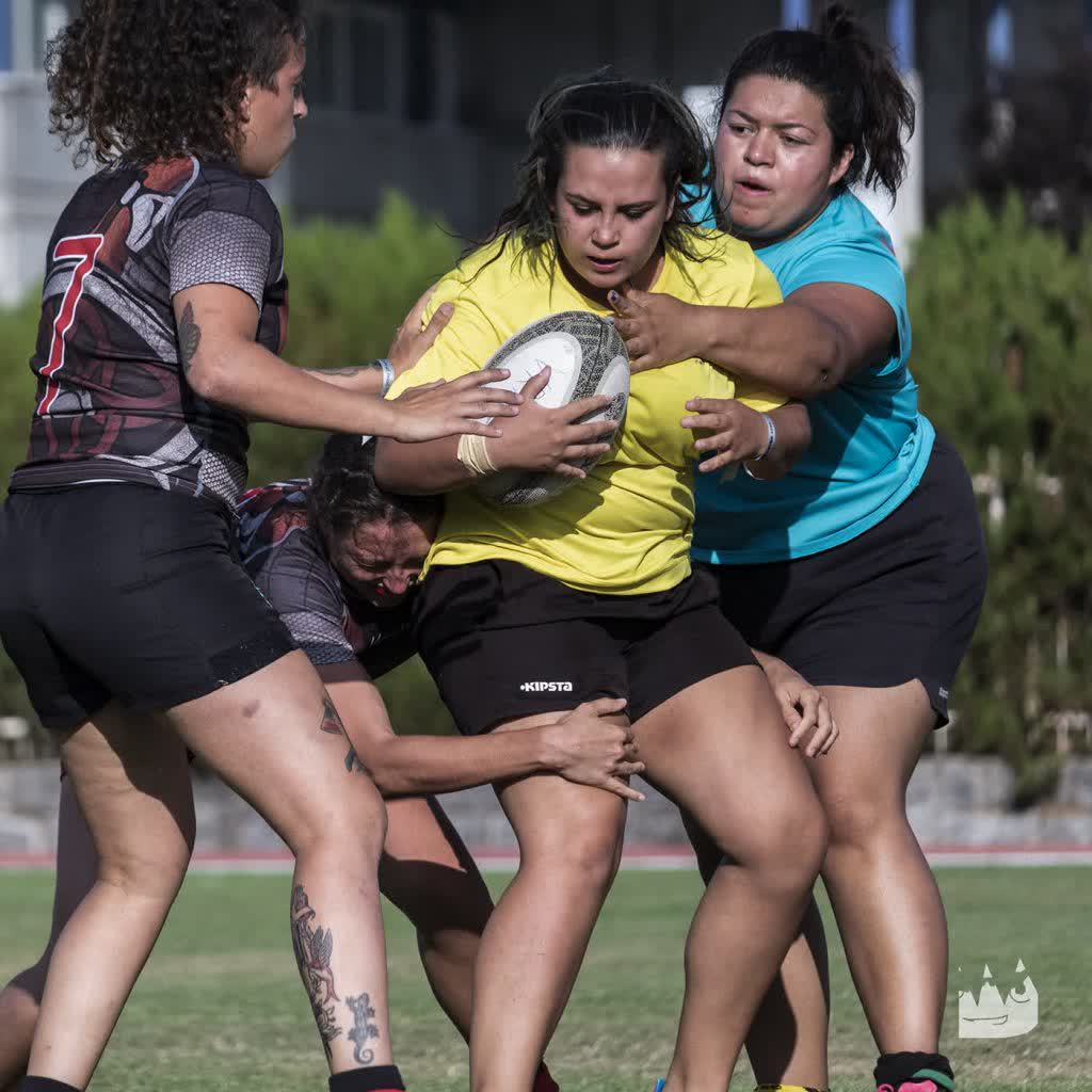 Rugby player girls at a rugby seven series