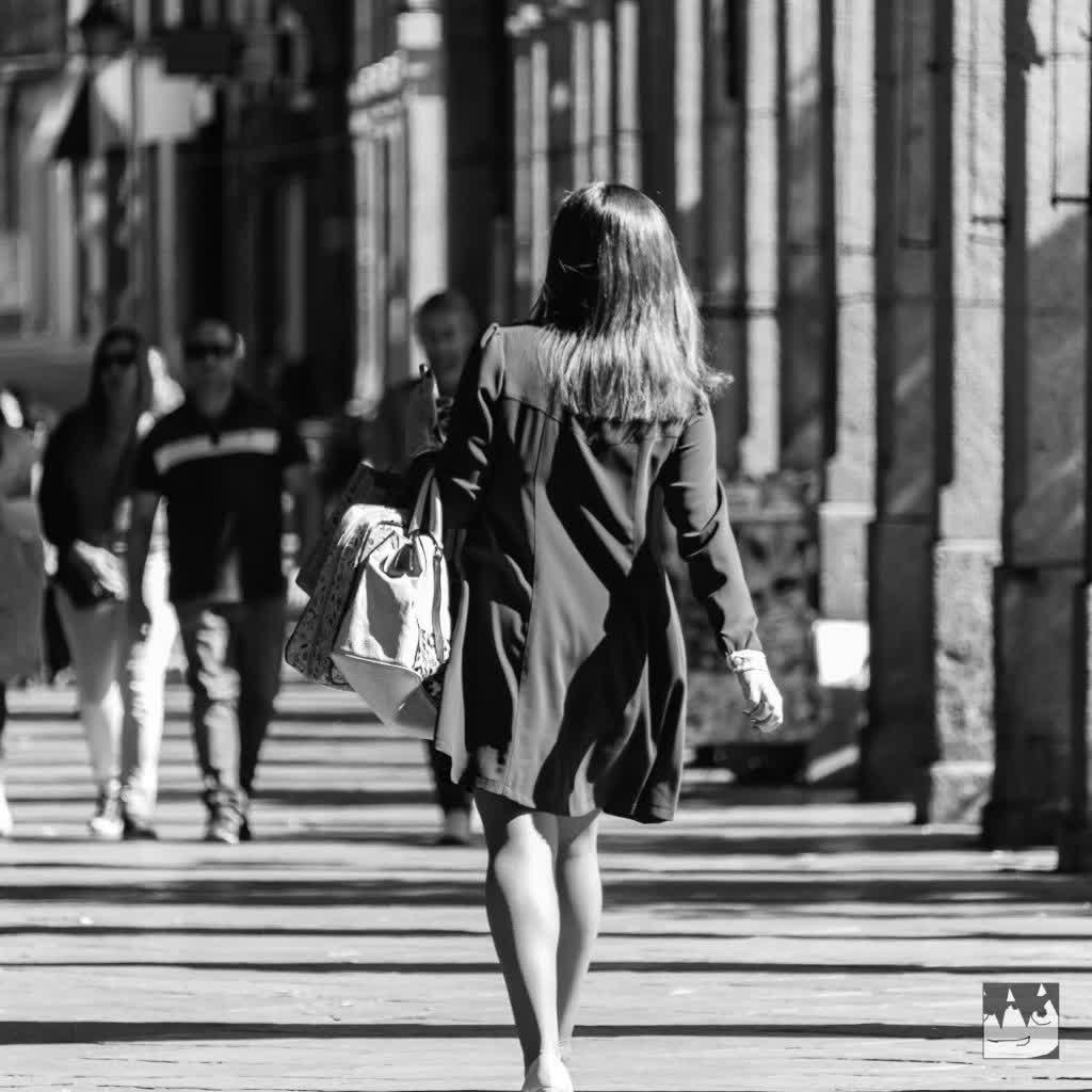 Girl walking by