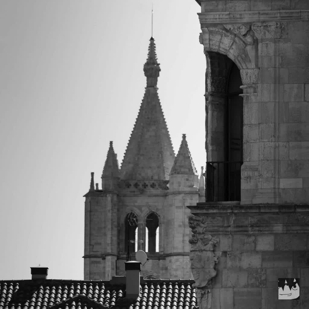 Bell tower of the Cathedral at Leon, Spain